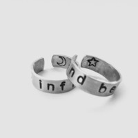 To Infinity and Beyond Rings - Hand Stamped Aluminum - A Pair of TWO Friendship Rings - Toy Story Inspired - Customizable