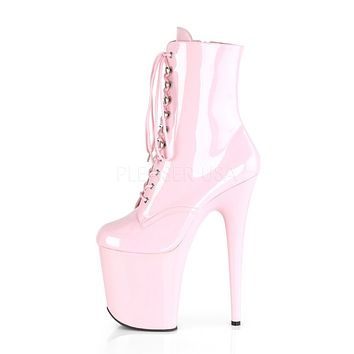 "Flamingo 1020 Pink Patent Platform - 8"" High Heel Ankle Boot"