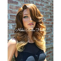 Felip Human Hair Blend Multi Parting Ombre' Blonde Lace Front Wig