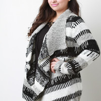 Tribal Stripe Mixed Knit Open Front Sweater
