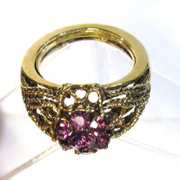 Amethyst Ring Vintage Jewelry Crystal Rhinestones Set in a Gold Rope Filigree Design PV