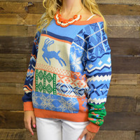 Up On The Roof Top Orange Reindeer Sweater