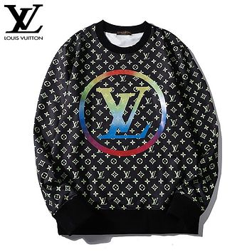 LV fashion hot selling color full print long sleeve casual couple hoodies LV Print Green