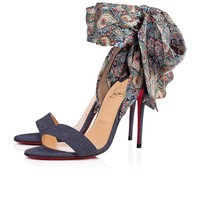 Christian Louboutin Cl Sandale Du Desert Version Blue Denim/satin Paisley Sandals 3180169cn65 - Best Online Sale