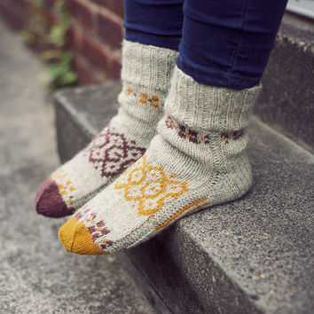 """Autumn mosaic"""" Natural hand knit wool socks for women. Wool socks MADE TO ORDER"""