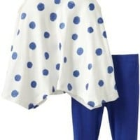 Nicole Miller Baby Girls' Sleeveless Jersey Printed Dot Tunic With Stretch Legging 2 Piece Set, Clements Blue, 18 Months