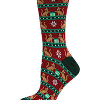 Hot Sox Cat Opening Christmas Gifts Crew Socks