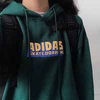 Adidas New fashion letter print hooded long sleeve sweater top Green
