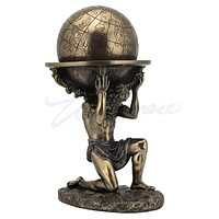 Atlas Carrying Weight of World Greek Mythology Hero Globe Statue 9.2H