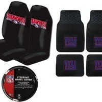 A Set of 4 NFL Universal Fit Front All-Weather Floor Mats and A Set of 2 Universal Fit Seat Covers and 1 Steering Wheel Cover - New York Giants