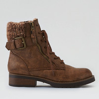 AEO Knit Cuff Lace-Up Bootie, Tan