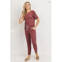 Sign Me Up Jumpsuit (Red Brown)FINAL SALE