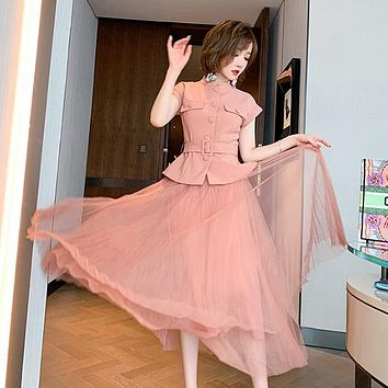 Women's Short Sleeve Single Breasted Sashes Jacket Top And Mesh Skirt Two Piece Suit Pink Tulles Maxi Skirts Sets