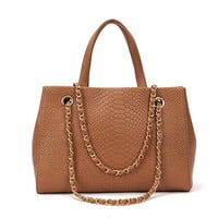 Faye Tan Faux Crocodile Pattern Chain Leather Handbag Shoulder Bag Tote Bag