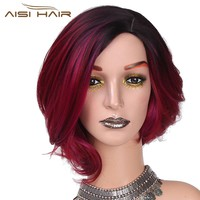 """I's a wig 12""""Long  Synthetic Ombre Red Short Hair Wigs  for Women False Hair Can Be Cosplay"""