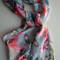 SALE. Powder Blue Floral Scarf with Pink and Fuchsia Roses and Orchids. Soft, Ethereal. Vintage Inspired.