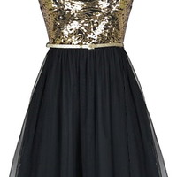Secret Soiree Dress | Black Gold Sequin Tulle Party Dresses | Rickety Rack