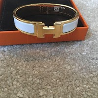 Hermes Clic H Enamel Narrow Bangle Bracelet Size PM White Gold Tagre™