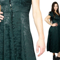 90s Gothic Grunge Dress.  Floral Green Victorian Lace Up Button Down Long Dress. Goth Edwardian Maxi Dress  / size XS S Extra Small - Small