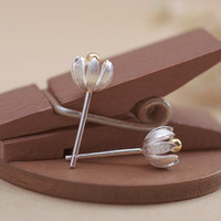 womens 925 silver flower shape earring girl ear stud christmas gift 03