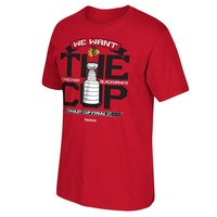 Reebok Chicago Blackhawks 2015 Stanley Cup Finals We Want the Cup Tee