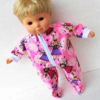 """American Girl Bitty Baby Clothes 15"""" Pink Fairy Princess Flannel Zip Up Feetie Pajamas Pjs Sleeper"""