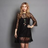 80s does 60s MINI DRESS / Sheer Mod Black Lace Dolly Dress