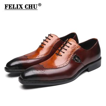 FELIX CHU Italian Lace Up Men Genuine Leather Men Wedding Wingtip Brogue Formal Dress Shoes Party Office Brown Oxford #1815-01