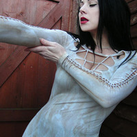 Steampunk Zombie Post Apocalyptic Goth Shredded Metal Punk Woven Deconstructed Distressed top