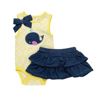 Babyworks Animal Tank Bodysuit & Denim Skirt Set - Baby