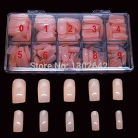 FN19  500pcs/box  Free shipping  Mix 10 sizes light color Fake Nails Tips False Nail Art Tips Cover Shiny Artificial Nail
