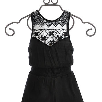 Vintage Havana Black Romper for Tweens Lace Back