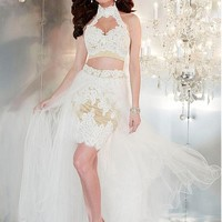 [104.99] Fabulous Two-piece Tulle Halter Neckline A-line Prom Dresses With Beaded Lace Appliques & Rhinestones - dressilyme.com