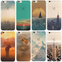 Beautiful City Tower Mountain Ocean Transparent Hard Back Case Cover For Apple iPhone 6 6S Case 4.7 PC 6 Series Crystal