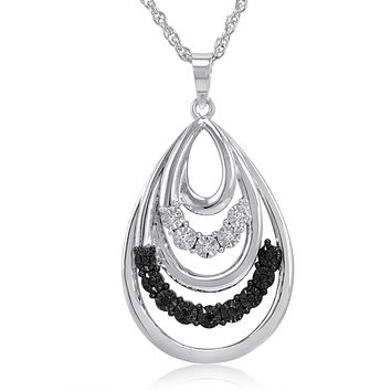 Black and White Diamond Tear Drop Pendant-Necklace in .925 Sterling Silver
