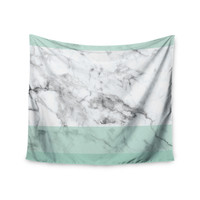 """KESS Original """"Mint Marble Fade"""" White Green Wall Tapestry"""
