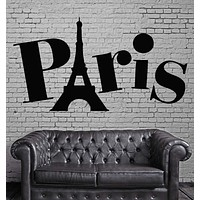 Paris Wall Stickers France Eiffel Tower Europe Tourism Vinyl Decal (ig1602)