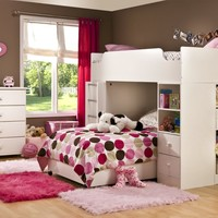 South Shore Complete Loft Bed, Logik/Sand Castle Collection, Pure White