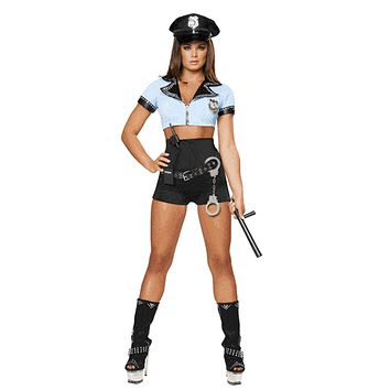 Sexy Eight Piece Pin Up Cop Girl Halloween Costume