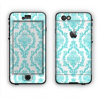 The Fancy Laced Turquiose & White Pattern Apple iPhone 6 Plus LifeProof Nuud Case Skin Set