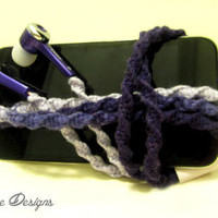 Valentine's Day Wrapped Earbuds / Tangle Free Headphones 'Purple Passion' By Wrapture Designs