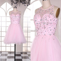 Pink Prom Dresses Short Homecoming Dress Popular Bridesmaid Dress Tulle Party Dress Evening Dresses With Beaded Rhinestone