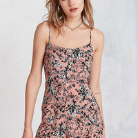 Kimchi Blue Butterfly Print Button-Front Slip Romper - Urban Outfitters