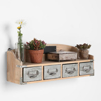 Reclaimed Wood Card Catalog Shelf