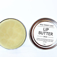 mint LIP BUTTER. 100% natural lip balm / lip cream - mint