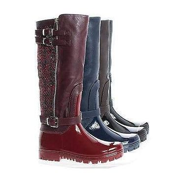 Carrie63 By Forever, Knee High Round Toe Tweed Zip Up Lug Sole Raining Boots