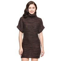 Trendy Cable Knit Turtleneck Sweater Dress