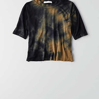 Don't Ask Why Mock Neck Cropped T-Shirt, Navy