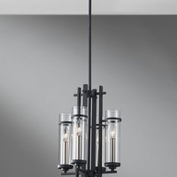 Murray Feiss Ethan 4 Light Iron / Steel Mini Chandelier - F2627/4AF/BS