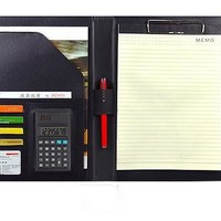 PU leather folder for documents,  meeting conferences a4 clip file folder with calculator, notepad with rings